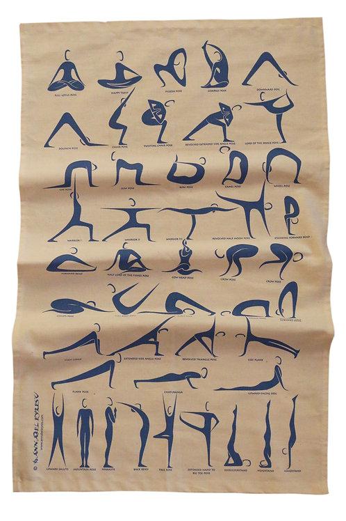Yoga Poses Tea Towel