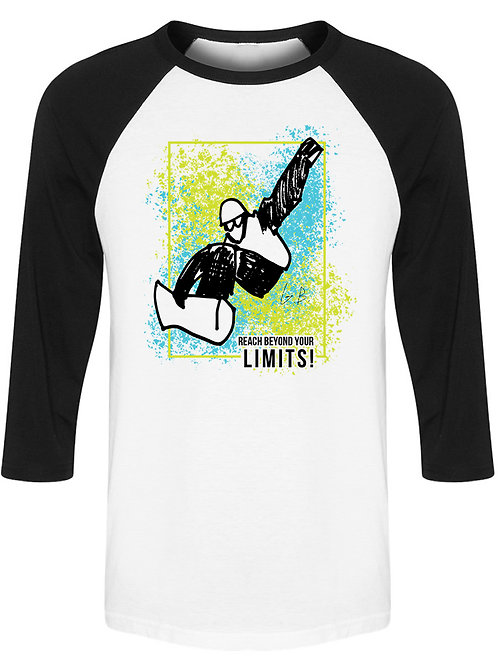 Reach beyond your limits 1 Men's White/Black Baseball Tee