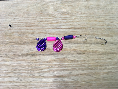 Pink and Purple Crushem Floating Worm Harness