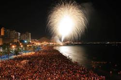 Noche de fuegos artificiales. Playa