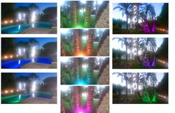 Piscinay jardin iluminado