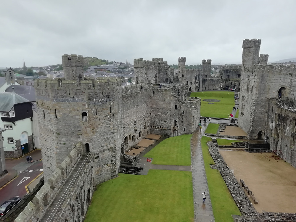 The view from atop the tower at Caernarfon Castle in north Wales.