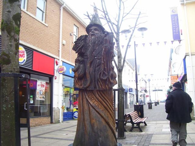 A statue of Merlin in Carmarthen