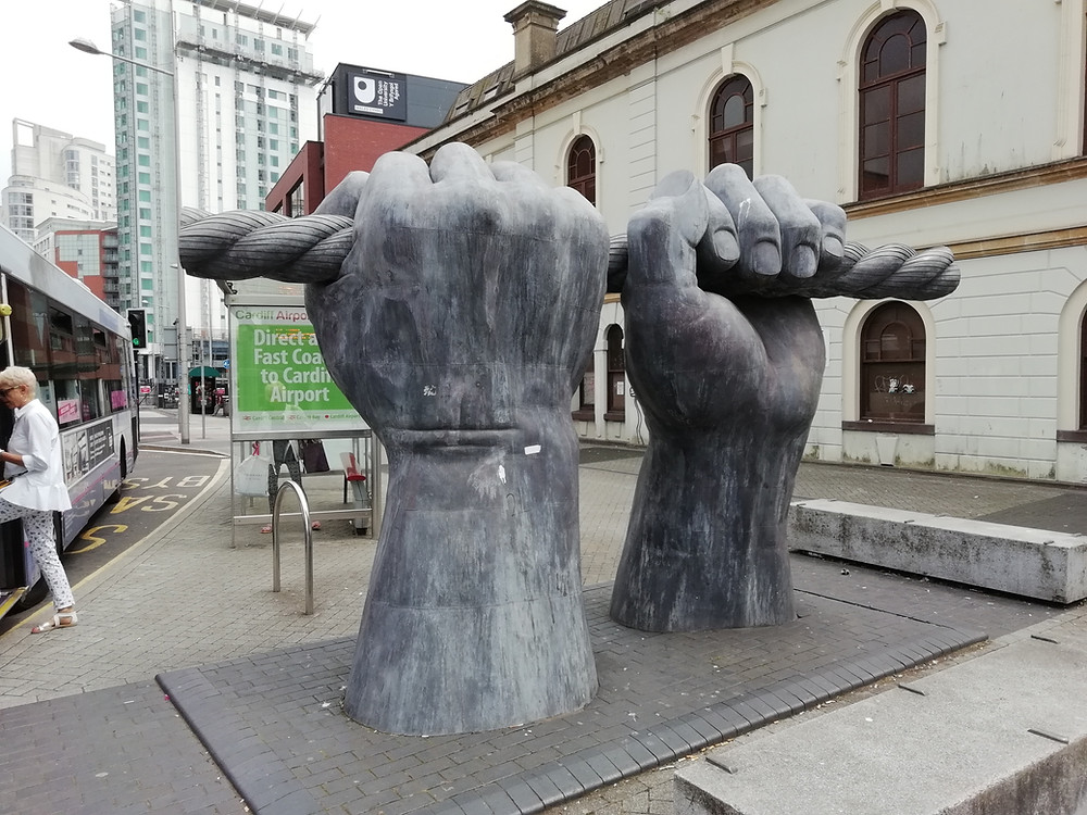 The All Hands sculpture in Cardiff, formerly on Custom House St.