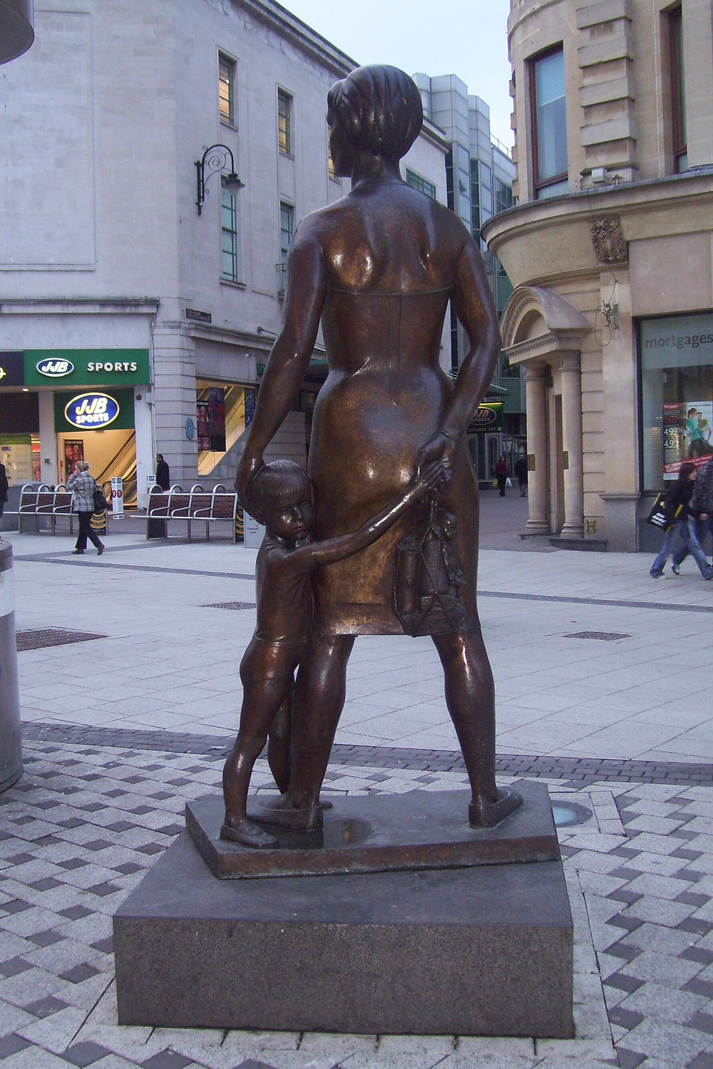 The reverse side of the Mother and Son sculpture on Queen St in Cardiff