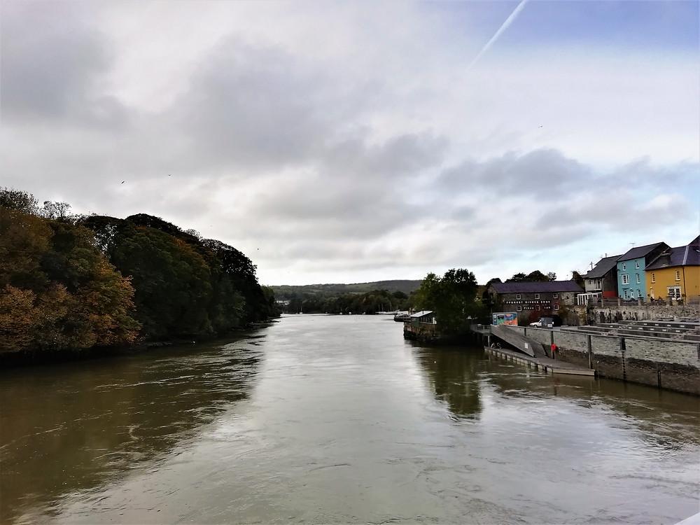 The River Teifi, running through Cardigan, in Ceredigion