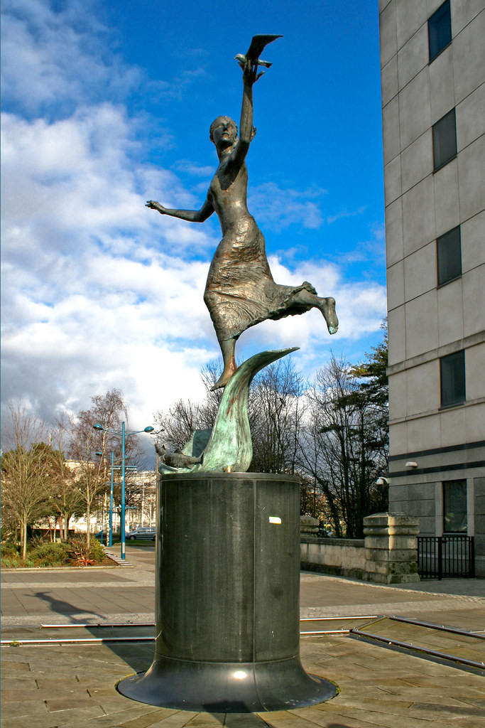 The sculpture of Nereid on Kingsway in Cardiff
