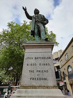 The John Batchelor Statue on The Hayes in Cardiff