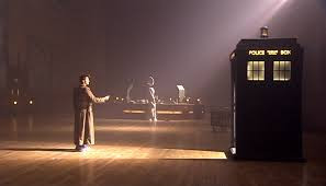 The Doctor arrives in the library in 'Silence in the Library', filmed in Brangwyn Hall in Swansea.
