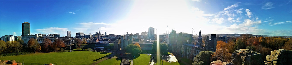 The view of Cardiff skyline from atop the Norman Keep of Cardiff Castle.