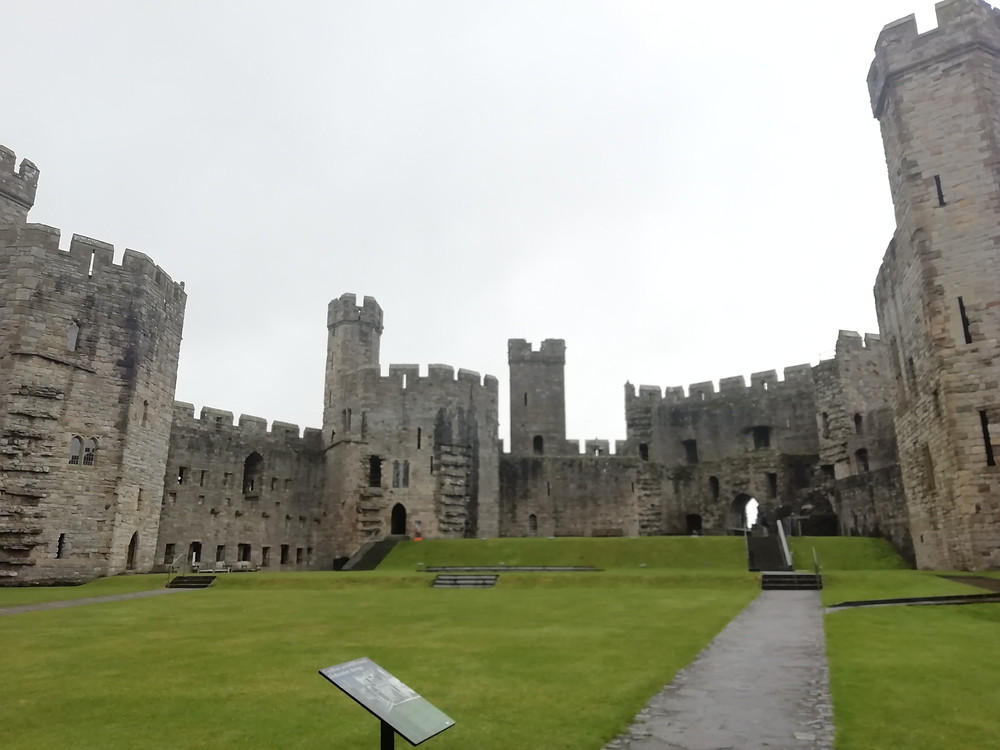 The interior grounds of Caernarfon Castle in the town of Caernarfon in north Wales.