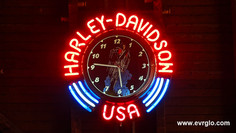 Harley Davidson USA neon clock