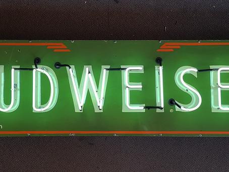 1939 Porcelain Budweiser Neon Sign
