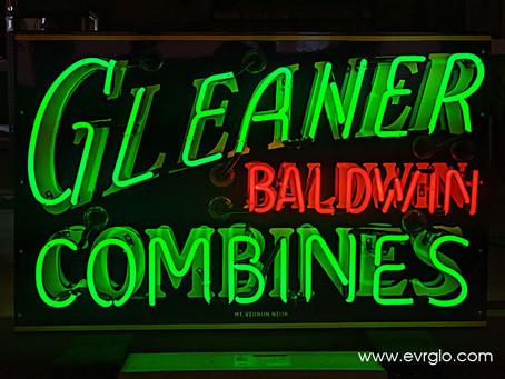 GLEANER BALDWIN COMBINES NEON SIGN