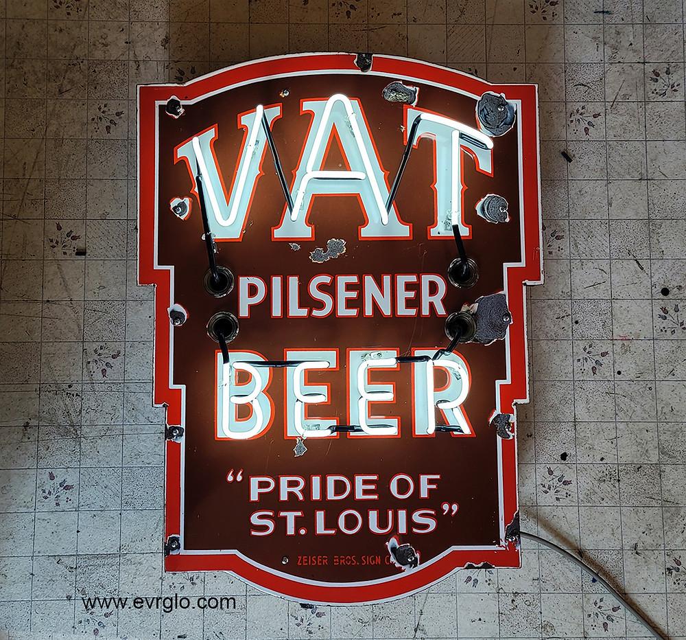 "VAT Pilsner Beer ""Pride Of St. Louis"" porcelain neon beer sign."