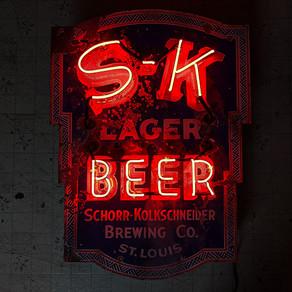 S-K LAGER BEER PORCELAIN NEON SIGN
