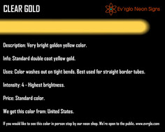 Neon Sign Color: Clear Gold
