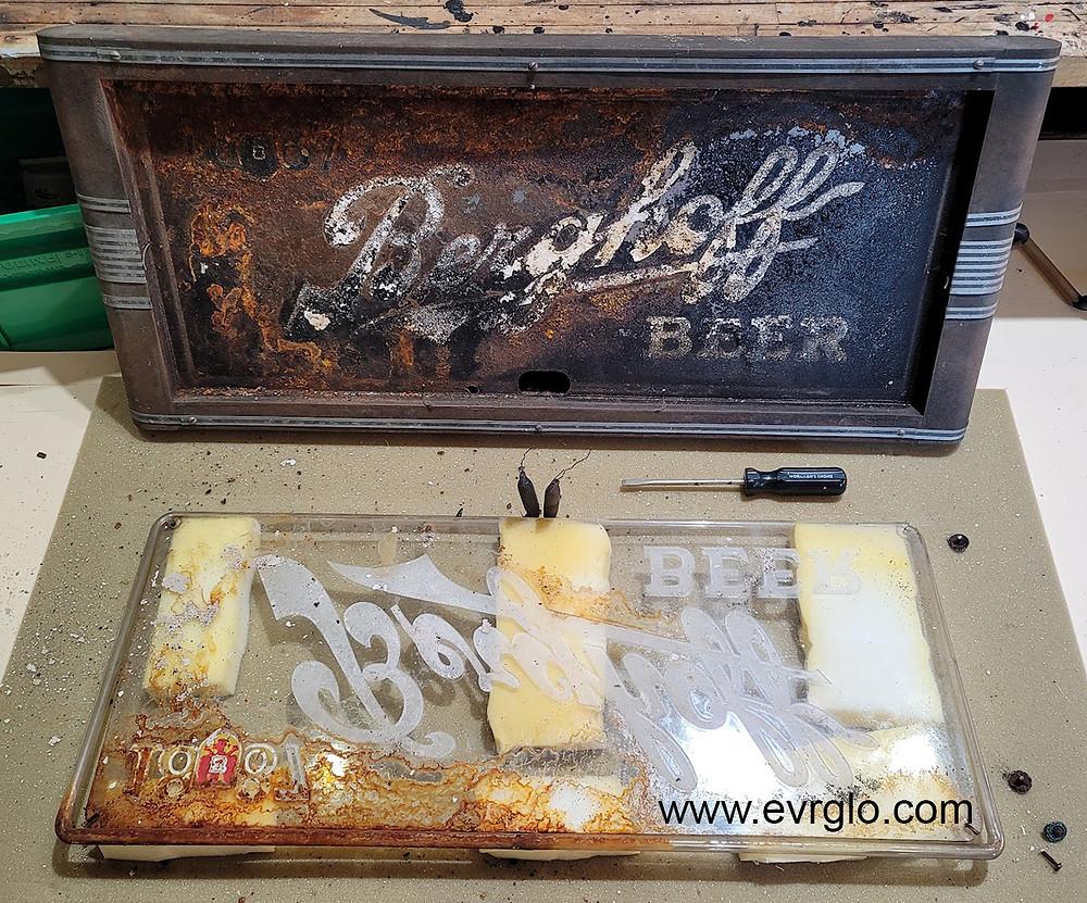 Berghoff Beer Neon Sign Before Restoration
