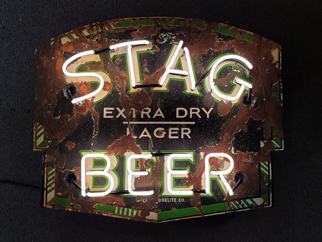 STAG BEER PORCELAIN NEON SIGN