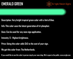 Neon Sign Color: Emerald Green