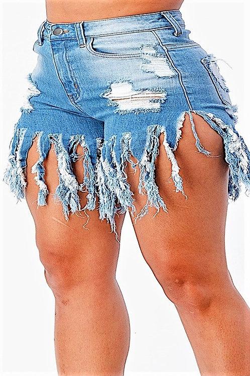 Plus Size Fringe Shorts 8165