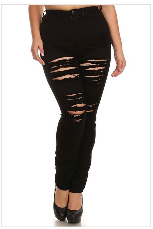 Solid Ripped Jeans 7073