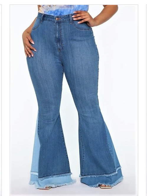 Plus Two Tone Flare Jeans