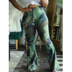 Camo Print Broken Holes  Plus Size