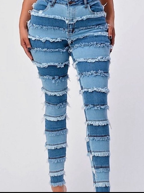 Plus Patchwork Jeans