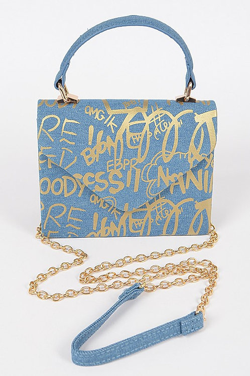 Graffiti Denim Clutch