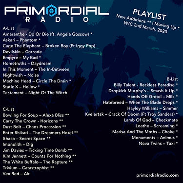 Primordial Radio playlist Empyre
