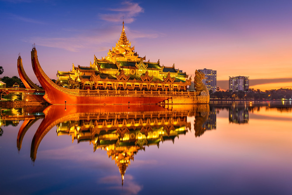 Yangon gleaming pagodas