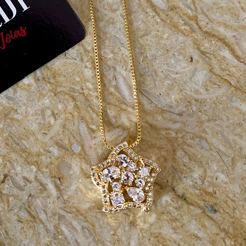 Colar Flor Brilhante Ouro