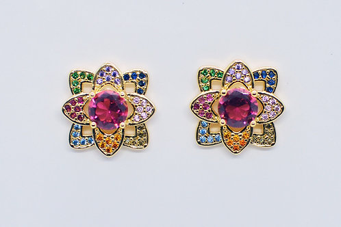 Brinco Flower Colors Pink Ouro