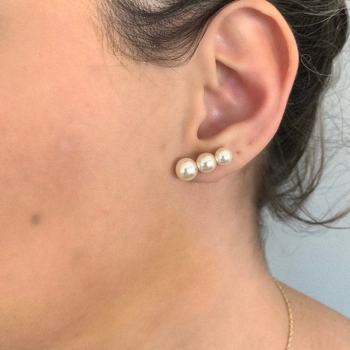 Brinco Ear Cuff Três Pérolas Ouro