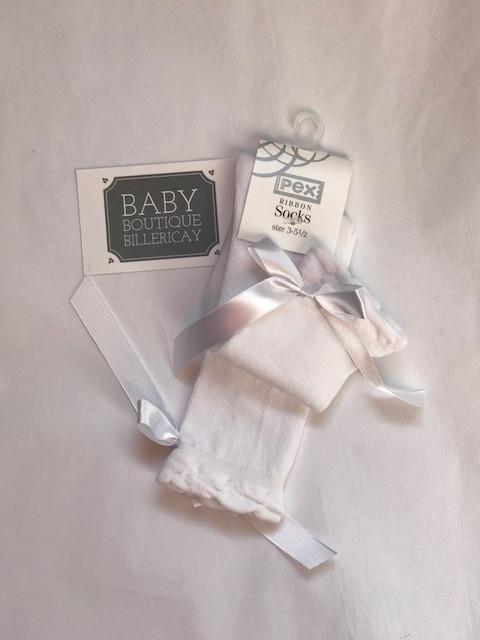 5b9785174b1 White ribbon knee high socks by Pex
