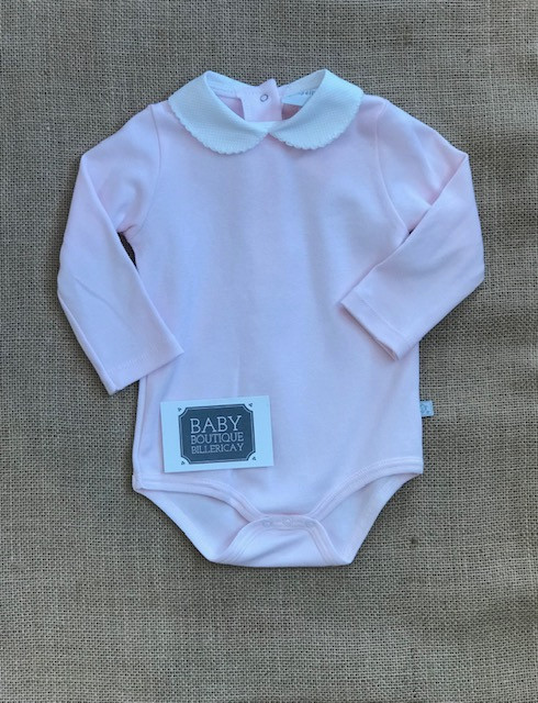 dee5dddc0c09 Pink bodysuit with white collar, this is the perfect addition to any outfit.