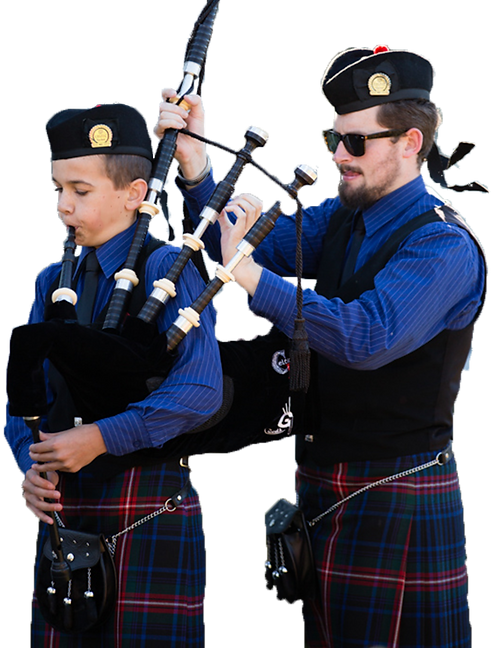bagpipe tutor and pupil