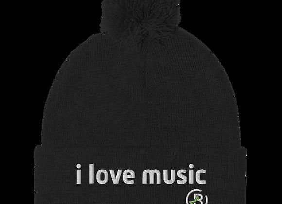 """I Love Music"" Pom-Pom Beanie Adult"