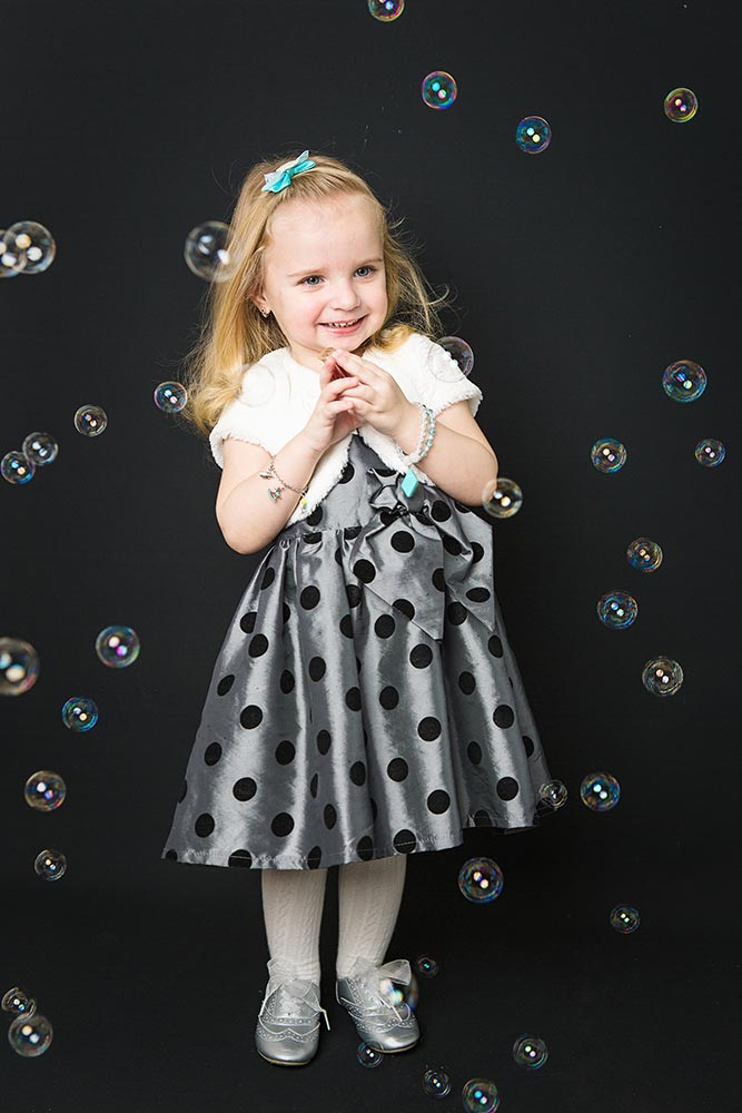 studio photoshoot with bubbles