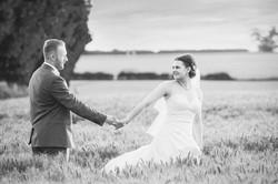 Romantic wedding in a fiels