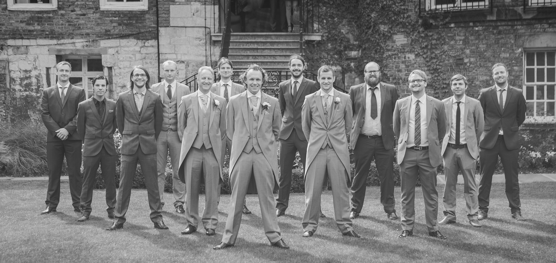 All groomsmen together during weddin