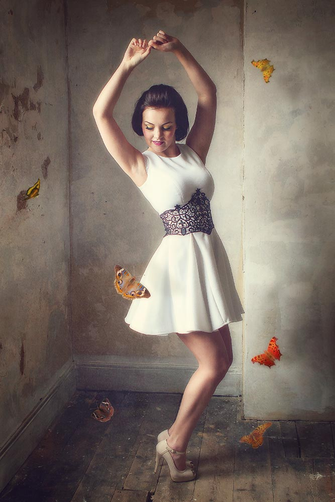 Dancing with butterflies portrait