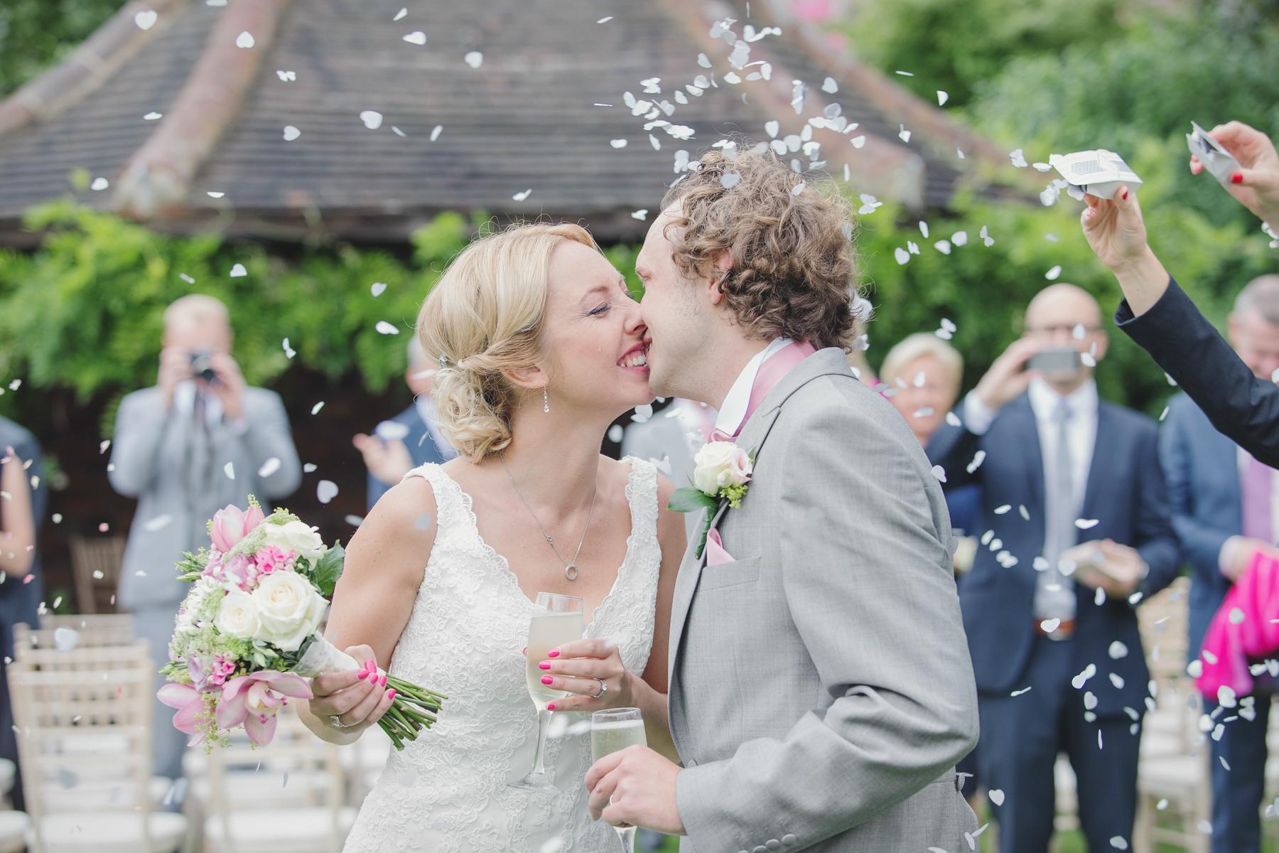 Wedding celebration  with confetti