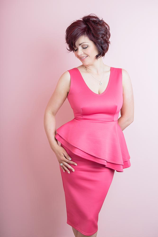 Pink dress photograph in a studio