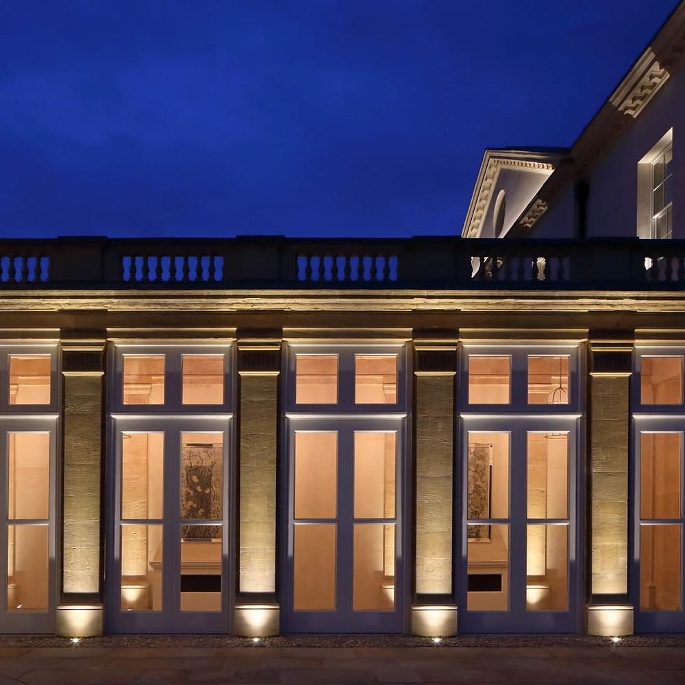 event barcelona upward lights outdoor building