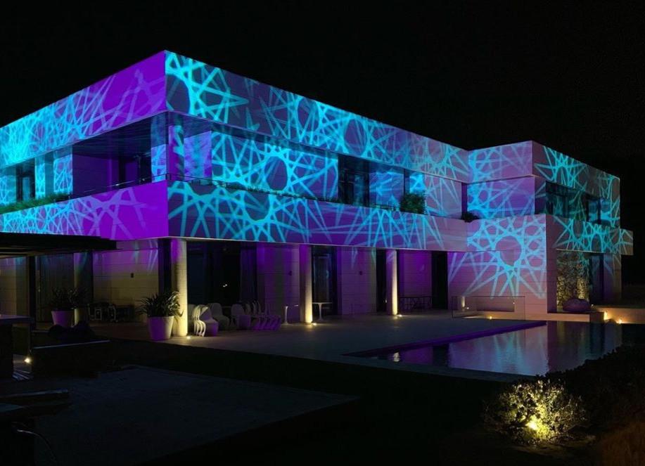 event barcelona gobo lights outdoor building
