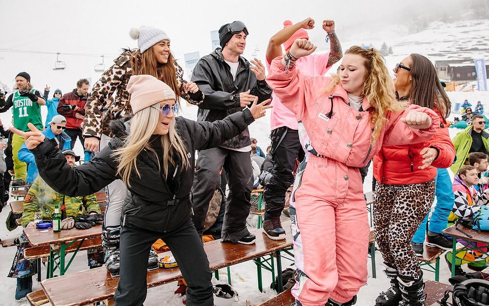 ski snowboard party dancing fun winter