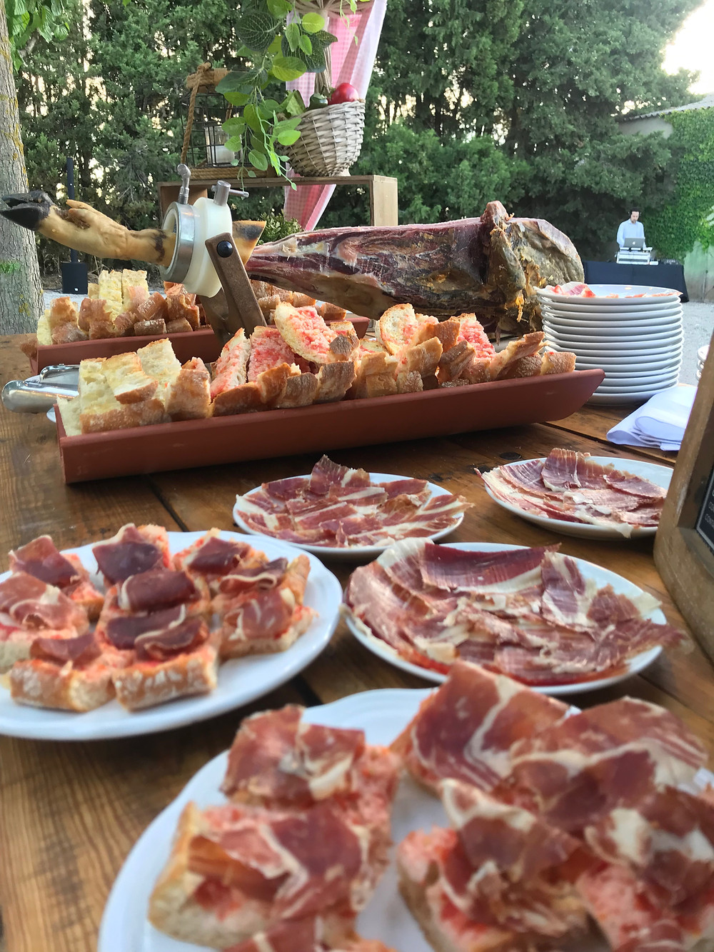 meat jamon ham event chairs garden outside barcelona