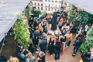 event bar patio barcelona garden drinks party people